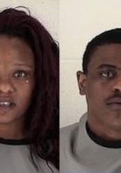 Mylesha and Marques Anderson's booking photos from the Johnson County Sheriff's Department.