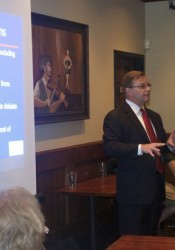 Dave Trabert of the Kansas Policy Institute spoke to the Northeast Johnson County Conservatives Tuesday night in Leawood.