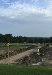 Contractors are in the process of installing a new $975,000 synthetic turf practice field at SM East.