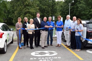 Representatives from KCP&L, the Northeast Johnson County Chamber of Commerce, Johnson County Park District and City of Merriam took part in the ribbon-cutting.