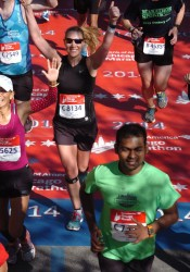 Elizabeth Paolini finishing the Chicago Marathon in personal record-time.