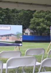 Chairs were left empty Thursday morning as the groundbreaking at Crestview Elementary was called off because of the weather.