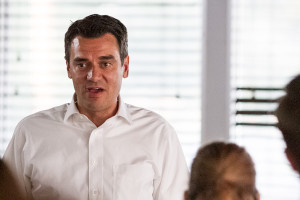 Rep. Kevin Yoder spoke to the Northeast Johnson County Conservatives  at Burg and Barrel in Overland Park on Tuesday.
