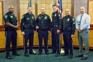 Prairie Village Police leaders (from left) Capt. Byron Roberson; Chief Tim Schwarztkopf; Sgt. Brady Sullivan; Cpl. Joel Parker; Sgt. Travis Gray and Capt. Wes Lovett.
