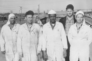 Sunflower Army Ammunition Plant workers in 1953. Photo via Johnson County Museum.