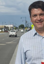Mission City Councilor Dave Shepard on Johnson Drive. He was a strong backer of the rebuild of the street.
