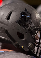 The Lancers swapped out the USA decals they'd worn on their helmets the first two games for their knight logo.