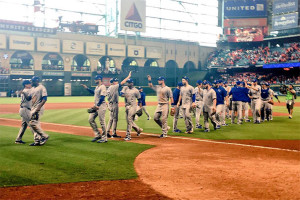 The Royals celebrated after their improbable 9-6 win over the Astros Monday. Photo via Royals Twitter.