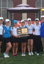 SM East's girls golf team celebrating with their state title in Andover. Photo courtesy Buckie Bell.