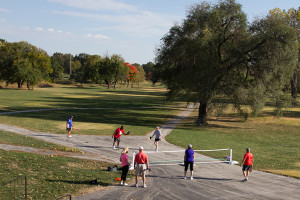 Pickleball players endured blustery conditions Tuesday as they took advantage of the Meadowbrook Grand Lawn. New pickleball courts are part of the plan for the public park on the property.
