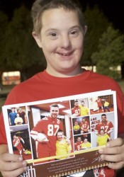 Seth Dujakovich with his page on the Chiefs calendar.