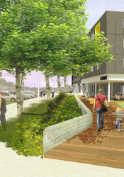 A new timetable for the Mission Gateway project calls for the first phase to be apartments above retail at Johnson and Roeland Drives.