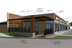 The refreshed Hattie's building would feature an outdoor patio.