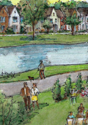 A rendering showing the view from the proposed inn out onto a lawn near the lake where weddings could be hosted.