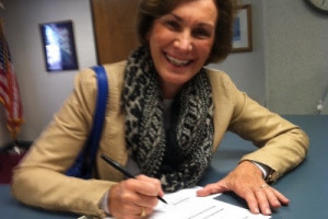 Barbara Bollier filing for reelection. Photo via email newsletter.