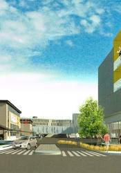 One of the Gateway renderings showing the entrance to Walmart (left) off Johnson Drive.