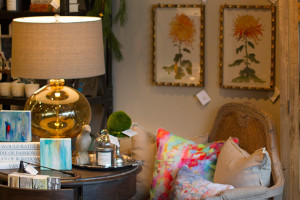 All of the items in the store, from dining room tables to accent pillows, are for sale.
