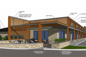 A view of the proposed outdoor seating porch adjacent to Hattie's Coffee.