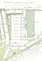 The drawing shows the addition of a green roof and walking path on a portion of the Walmart buidling,