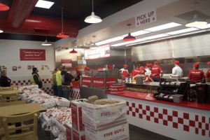 Five Guys Burgers and Fries was open for business Monday morning in Mission.