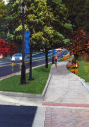 A rendering of the new eight-foot path along Mission Road coming south from the Village Shops.