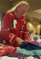 Volunteer Diann Vickers was busy wrapping presents this morning.