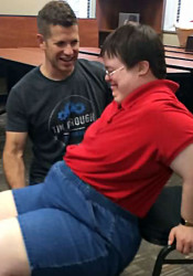 Personal trainer Tim Crough works with Ellen Dirnberger on strength. Photo courtesy of The Mission Project.