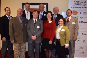 Northeast Johnson County mayors who participated in the NEJC Chamber's State of the Cities event:  (Front row L-R) Merriam Mayor Ken Sissom, Overland Park City Council President Paul Lyons, Prairie Village Mayor Laura Wassmer, and Westwood Hills Mayor Paula Schwach; (back row L-R) Westwood Mayor John Yé, Roeland Park Mayor Joel Marquardt, Fairway Mayor Jerry Wiley, Mission Hills Mayor Richard Boeshaar, and Mission Mayor Steve Schowengerdt.