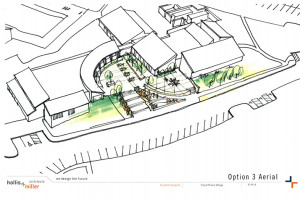 An aerial rendering of the initial courtyard plan preferred by the Prairie Village City Council.