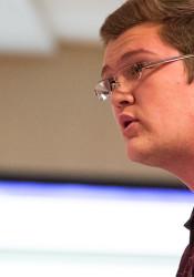 SM Northwest IB candidate Braden Pomerantz addressed the Shawnee Mission Board of Education.
