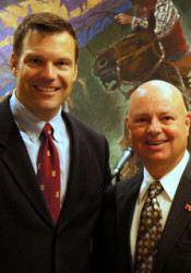 Kobach with Metsker at a Johnson County Republican Party Elephant Club event in 2011. Photo via JCRP.