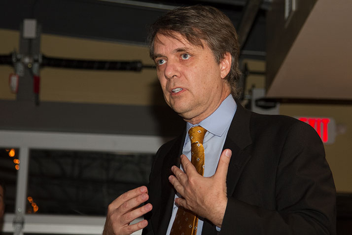 Jeff Colyer speaking in Overland Park in February.
