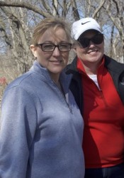 Roeland Park residents Natalie Gibbs (L) and Janet Parmer at Cooper Creek Park. Parmer teaches at Amelia's school and Gibbs' daughters were part of Make-A-Wish.