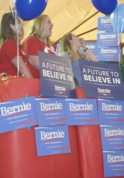 Bernie Sanders supporters were feeling the Bern Saturday afternoon.