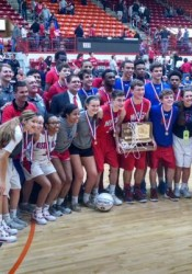 The Bishop Miege teams celebrate in Salina. Photo via Miege Twitter