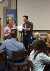 Briarwood faculty took time to recognize Jonathan Ferrell (in pink shirt) for his nomination. Photo via Chris Lash on Twitter.
