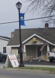 A drawing of a barber pole could be replaced with an actual barber pole.