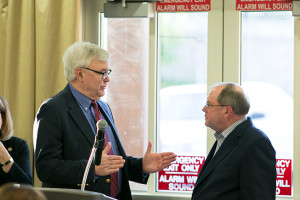 Rep. Jerry Stogsdill with Senate Minority Leader Anthony Hensley at a forum in Mission last year.