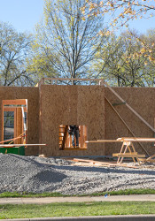 An under-construction home on the site of a Prairie Village teardown on 71st Street.