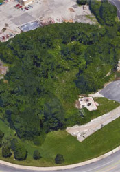 The old pool site shown from above.