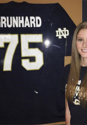 Cailey Grunhard committed to swim at Notre Dame, where her father played football, last week.