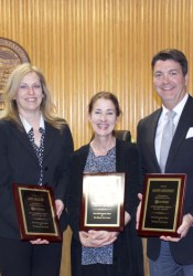 Amy Miller, Jennifer Cowdry and Dave Shepard were honored for their service on the Mission City Council.