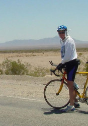 Bill Hancock riding his bike through the Mojave Desert following the death of his son, Will. Photo courtesy Bill Hancock.