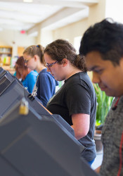 SM North students used county voting machines to elected student council officers on Wednesday.