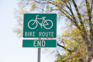 Bike route signage in Prairie Village.