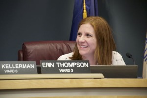 Erin Thompson after being elected council president in Roeland Park.
