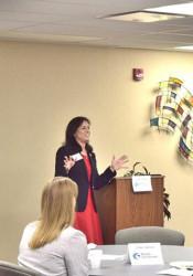 Rep. Melissa Rooker speaking at the Thursday Chamber breakfast. Photo courtesy of NEJC Chamber.