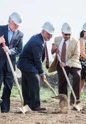 Tutera Group president Joe Tutera turned the first shovel of dirt at the Mission Chateau groundbreaking ceremony Wednesday morning.