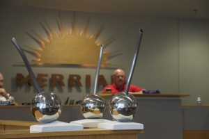 A model of the proposed public art project for the Merriam Marketplace was shown to the city council Monday night.