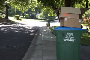 Recycling sat at the curb three days after scheduled pickup this morning.